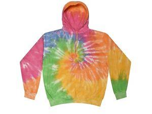 Tie Dye Pastel Rainbow Hoodie Adult & Kids Long Sleeve with Pockets Colortone