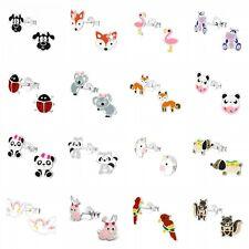 925 Sterling Silver Animal Studs Earrings Unicorn Panda Flamingo Cat Kids Girls