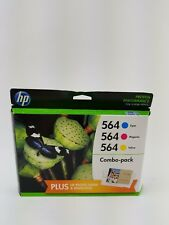 NEW HP 564 Color Ink Cartridge Combo Pack Cyan Magenta Yellow + Photo Paper