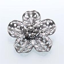 Vintage Silver Beau Milgrain Filigree Flower Pin Brooch