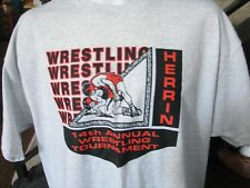 Vintage t shirt Herrin Illinois Wrestling team tournament new old stock men's XL