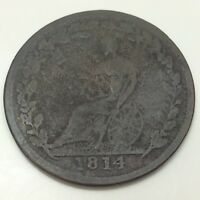 1814 Wellington Canada Circulated Canadian One Half Penny Token D525