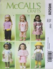 "18"" GIRL DOLL CLOTHES McCall's Sewing Pattern 6526 American Made NEW Uncut"
