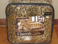 3pc Set CHEETAH Leopard FULL/QUEEN FAUX FUR Duvet Cover Shams Luxurious Bedding