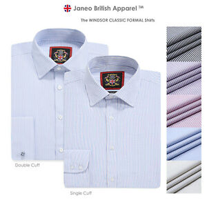 Mens Stripe Shirt,Cotton Rich Easy Care,Formal Single & Double Cuffs,Regular Fit