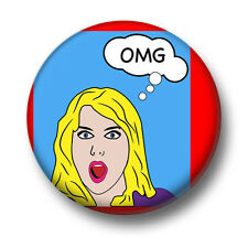 OMG 1 Inch / 25mm Pin Button Badge Blonde Woman Oh My God Meh Wow Wowzer Funny