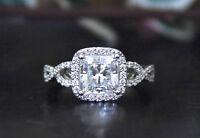 4.00 Ct Princess Cut Diamond Halo Twisted Engagement Ring 14k White Gold