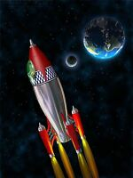 ART PRINT POSTER PAINTING DRAWING CARTOON SPACE ROCKET PLANET MOON LFMP0983