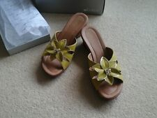 "Ladies wedge mules size 7.5"". Lotus, Lime Burnised, nealy new. Bargain Price."