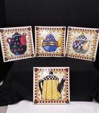Set of 4 Mary Engelbreit Tea Pot Ceramic Wall Plaque Tile Trivets