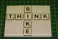 1 THINK BIKE STICKER v019 SCRABBLE, WORDS WITH FRIENDS STYLE