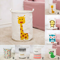Animal Canvas Laundry Clothes Basket Folding Storage Box Bathroom Waterproof Bag
