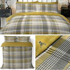 Ochre Duvet Covers Tartan Stag Flannelette Brushed Cotton Quilt Bedding Sets