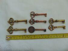More details for 7 x french antique vintage brass copper hollow barrel huwil cabinet drawer keys