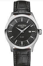 Roamer ET19.14ROX R-Line black leather strap watch, Silver RRP £189