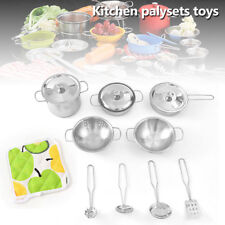 Childrens Kids Play Kitchen Toys Food Stainless Steel Cooking Utensils Learning