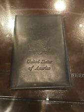 Italian Leather Black Leather Embossed Passport Holder Quality Travel Gift