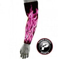 Titanium Football Baseball Compression Arm Sleeve Pink Ribbon Flames