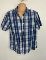 MENS FAT FACE SIZE MEDIUM BLUE MIX CHECK CASUAL SHORT SLEEVE CREW NECK SHIRT TOP
