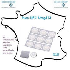 10 x Puce NFC Ntag213 ISO14443A 13.56 Mhz 180 Octets 25mm autocollante