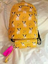 Betsey Johnson French Bulldog Large Backpack w/matching Wristlet Wallet Yellow