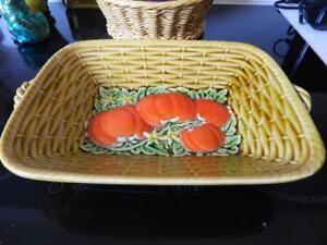 Sarreguemines Majolica Porcelain Basket Weave Serving Plate - Made in France