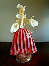 "BAROVIER & TOSO MURANO GLASS ZANFIRICO Filigree COURTESAN WOMAN Figurine RED 10"""