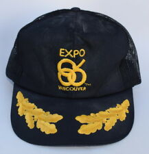 11b51b99a464f Vtg EXPO 86 VANCOUVER One Size Fits All Snapback Trucker Baseball Cap Hat