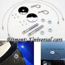 Brand New Muscle Car Silver Hair Pin Style Hood Pin Set With Lanyards Studs