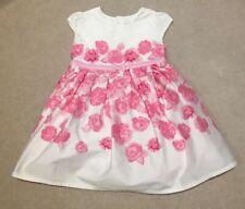 Jojomaman Bebe Cream & Pink Rose Print Dress 6-12 Months