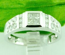 0.95 ct 18k Solid White Gold Ladies Diamond Ring Princess Cut sand Finished