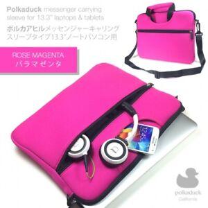 """Hot Pink Travel Neoprene Shoulder Messenger Bag Sleeve Case for 13"""" 13.3"""" Laptop"""