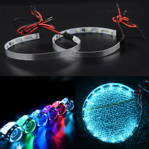 2x Cool Blue 15LED Devil Eyes Angle Eyes Light Front Headlight Ring Halo Decor