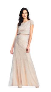 Adrianna Papell Short Cap Sleeve Blouson Beaded Gown Nude Silver sz 14  NWT $260