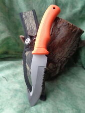 Lot de 3 Couteau de Chasse à Dépecer Orange Acier Inox Crochet Guthook CN211188