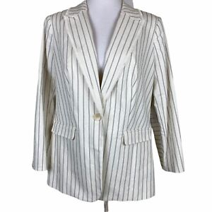 Vince Camuto Plus Size Womens Blazer 14W Frayed Trim Striped White Black New