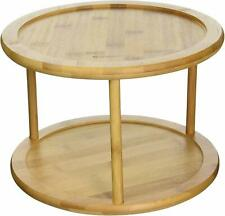 Greenco Premium Bamboo 2 Tier Lazy Susan Turntable