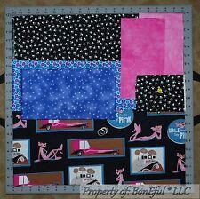 BonEful Fabric COTTON SCRAP QUILT LOT Retro Panther B&W Hippie Polka Dot Paw Cat