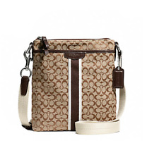 Coach Signature 6cm North South Swingpack F51163 Khaki Mahogany