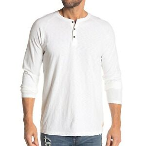 Scotch & Soda Men's Long Sleeve Raglan 3 Button Henley Slub Shirt Denim White M