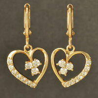 Forever Love Heart yellow Gold Filled Crystal CZ Womens Dangle Earrings flower