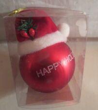 Mini Red Ball With Santa Hat Ornament MIB