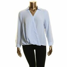 VINCE CAMUTO Women's Wrap Front Rumple Twill Blouse Shirt Top TEDO