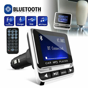 Car Wireless Bluetooth FM Transmitter Aux USB Charger Hands-Free Call 1.4 inch