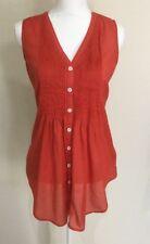 Yarra Trail Ladies Button Down Cotton Top Red 10