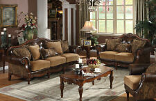 NEW Traditional Living Room Brown Faux Leather & Chenille Sofa Loveseat Set IGAN