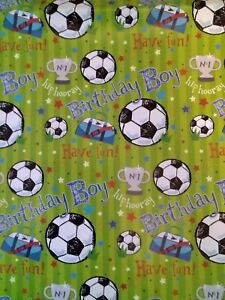 2 Sheets Birthday Boy Football Soccer Gift Wrapping Paper