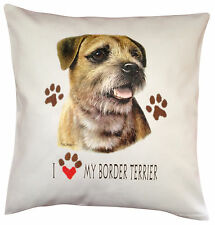 Border Terrier Heart Breed of Dog Cotton Cushion Cover - Perfect Gift
