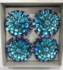 KIM SEYBERT FLOWER Nautical CHRISTMAS BLUE/TEAL NAPKIN RING HOLDERS Set of 4