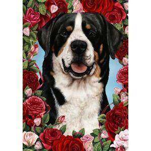 Roses Garden Flag - Greater Swiss Mountain Dog 191441